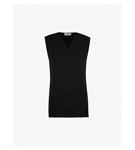 JOHN SMEDLEY Hadfield merino-wool vest (Black