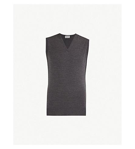 JOHN SMEDLEY Hadfield merino-wool vest (Charcoal