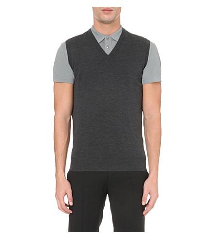 JOHN SMEDLEY Turner merino-wool vest (Charcoal