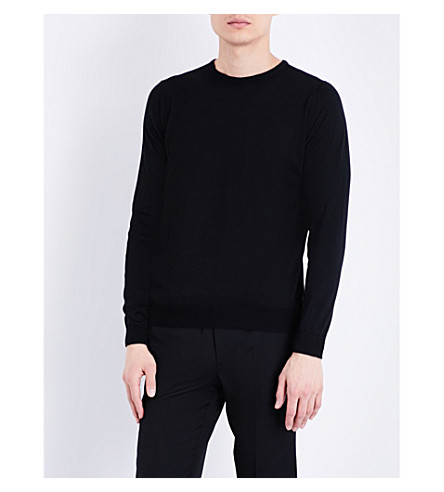 JOHN SMEDLEY Hatfield fine-knit cotton sweater (Black