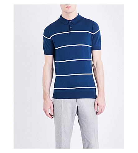 JOHN SMEDLEY Hembury striped knitted cotton polo shirt (Indigo/white