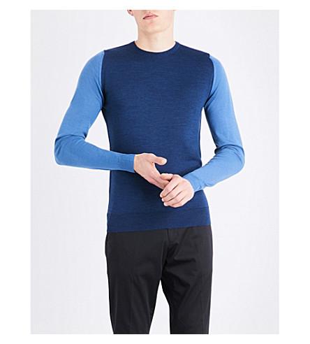 JOHN SMEDLEY Hindlow merino-wool sweater (Indigo/derwent+blue