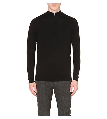 JOHN SMEDLEY Hugh extrafine merino wool jumper (Black