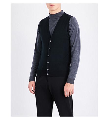 JOHN SMEDLEY Huntswood wool vest (Black