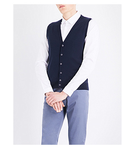 JOHN SMEDLEY Huntswood wool vest (Midnight