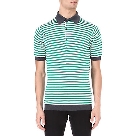 JOHN SMEDLEY Jaedon striped polo shirt (Green/white
