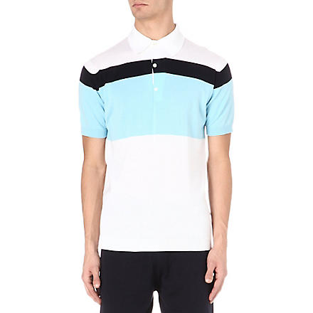 JOHN SMEDLEY Block stripe polo shirt (Blue/white