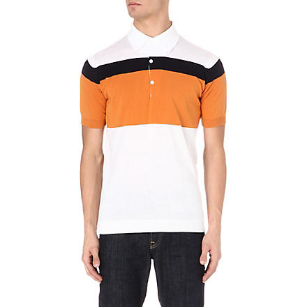 JOHN SMEDLEY Block stripe polo shirt (Orange/white