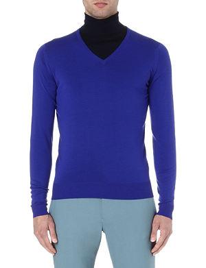 JOHN SMEDLEY Merino wool V-neck jumper