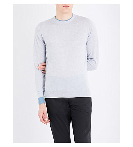 JOHN SMEDLEY 1.Singular wool jumper (Bardot+grey/summit+blue