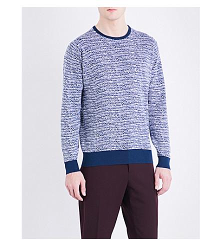 JOHN SMEDLEY Laxton cotton jacquard jumper (Indigo/white