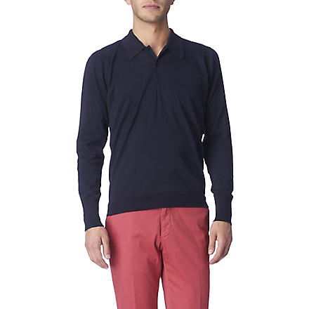 JOHN SMEDLEY Leander long–sleeved polo shirt (Navy