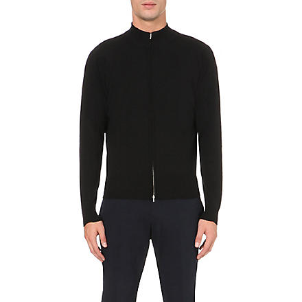 JOHN SMEDLEY Lionel zip–up cardigan (Black