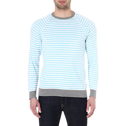 JOHN SMEDLEY Longnor knitted jumper (Blue/white