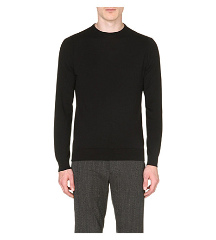 JOHN SMEDLEY Luke Sea Island cotton jumper (Black