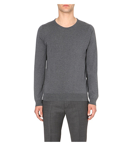 JOHN SMEDLEY Luke Sea Island cotton jumper (Charcoal