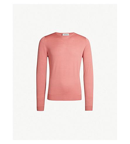 JOHN SMEDLEY 蓝迪圆领羊毛毛衣 (杜鹃花 + 粉红色