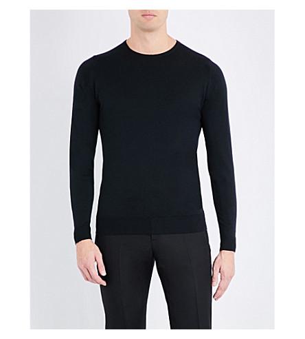 JOHN SMEDLEY Lundy crewneck wool jumper (Black