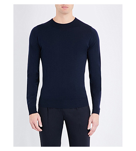 Clearance Reliable JOHN SMEDLEY Lundy crewneck wool jumper Midnight Discount Really 2018 Online Footlocker Finishline Cheap Price 3wQoAb9bW