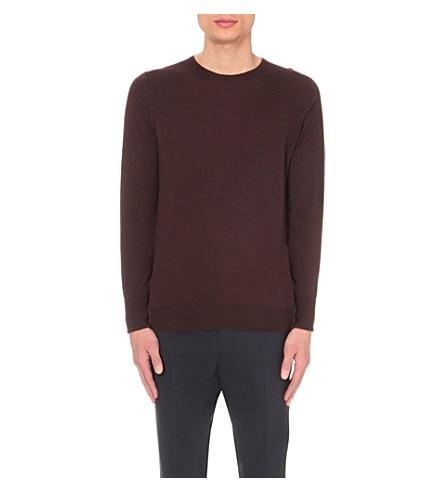 JOHN SMEDLEY Marcus wool jumper (Chestnut