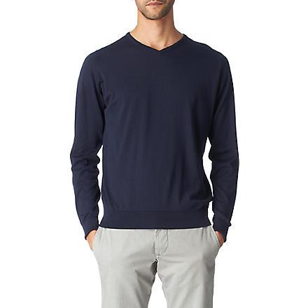 JOHN SMEDLEY Marshall v-neck jumper (Navy