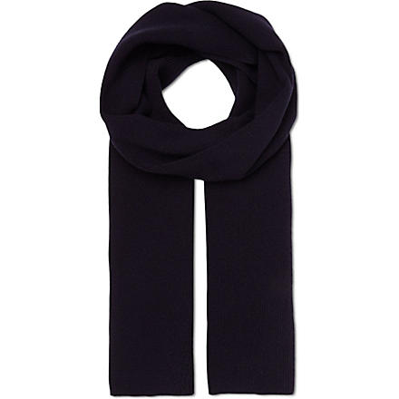 JOHN SMEDLEY Merton wool and cashmere-blend scarf (Midnight