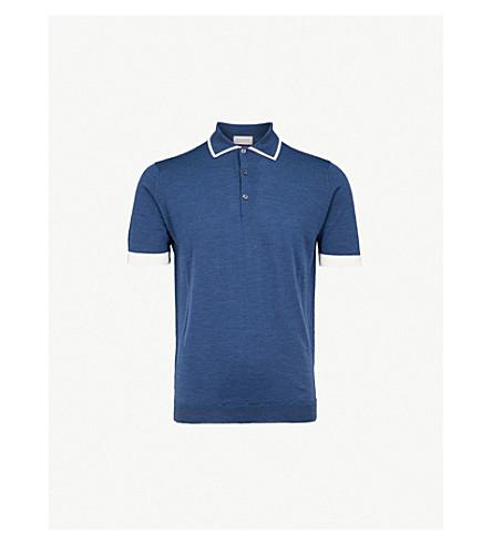 JOHN SMEDLEY Haddon wool polo shirt (Indigo/white