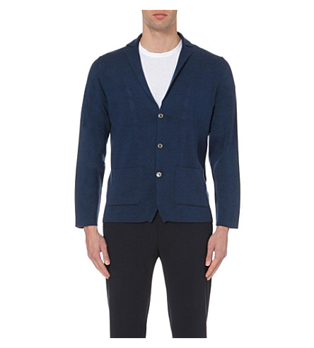 JOHN SMEDLEY Oxland button-up wool cardigan (Indigo+mel