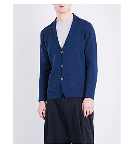 JOHN SMEDLEY Oxland button-up wool cardigan (Indigo