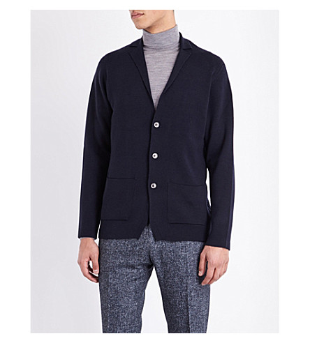 JOHN SMEDLEY Oxland button-up wool cardigan (Midnight