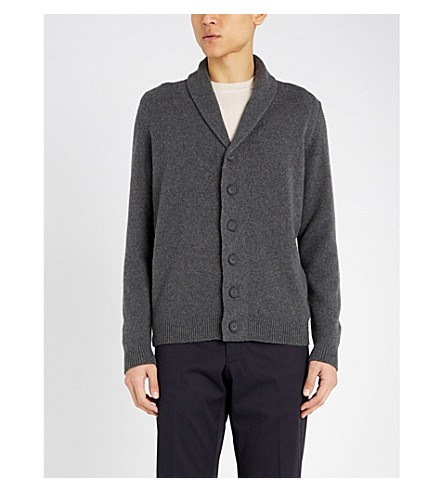 JOHN SMEDLEY Patterson cashmere and wool cardigan (Charcoal