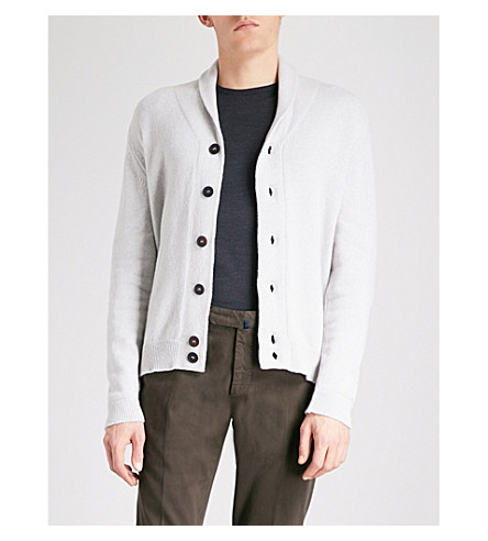 JOHN SMEDLEY Patterson cashmere and wool cardigan (Soft+grey