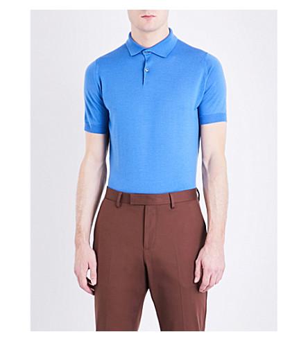 JOHN SMEDLEY Payton wool polo shirt (Chambray+blue