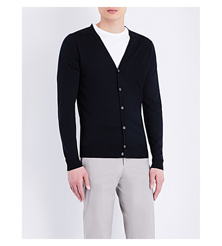 JOHN SMEDLEY Petworth V-neck merino wool cardigan (Black