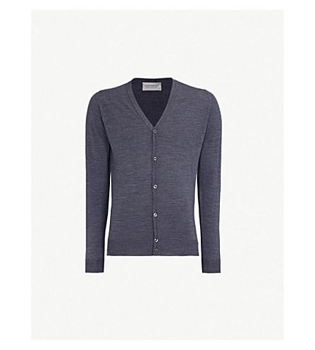 JOHN SMEDLEY Petworth V-neck merino wool cardigan (Charcoal