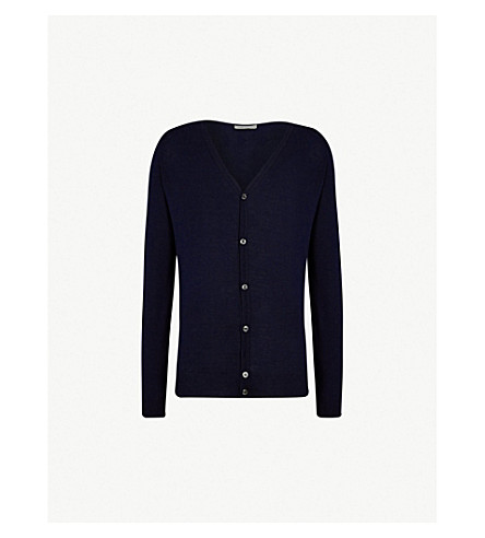 JOHN SMEDLEY Petworth V-neck merino wool cardigan (Midnight