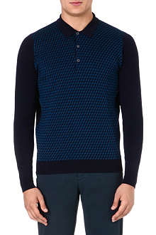 JOHN SMEDLEY Patterned wool polo shirt