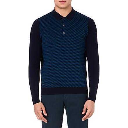 JOHN SMEDLEY Patterned wool polo shirt (Midnight