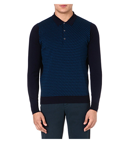 JOHN SMEDLEY Patterned wool polo shirt (Midnight