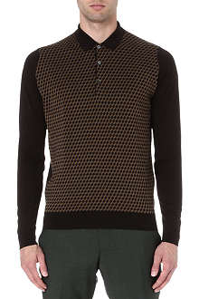 JOHN SMEDLEY Knitted geometric polo jumper