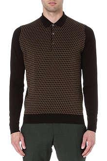 JOHN SMEDLEY Knitted geometric polo jumper