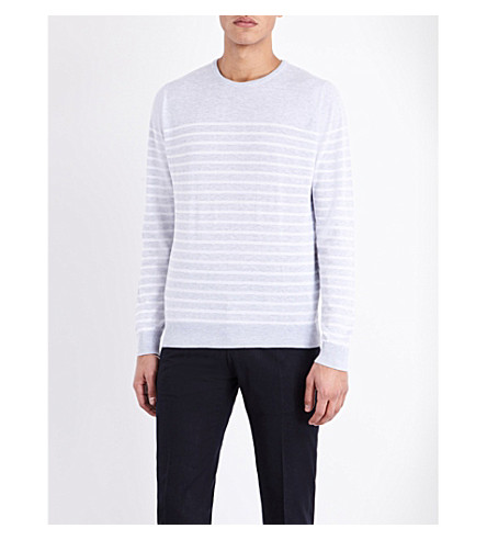 JOHN SMEDLEY Redfree striped sweater (Feather+grey