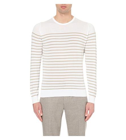 JOHN SMEDLEY Redfree striped jumper (French+beige+/+white