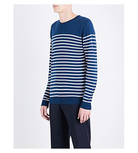 JOHN SMEDLEY Redfree 条纹毛衣 (靛蓝/白色