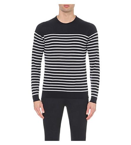 JOHN SMEDLEY Redfree striped jumper (Navy+/+white