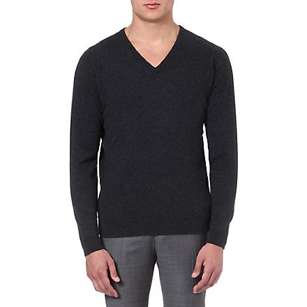 JOHN SMEDLEY Cashmere v-neck jumper (Charcoal