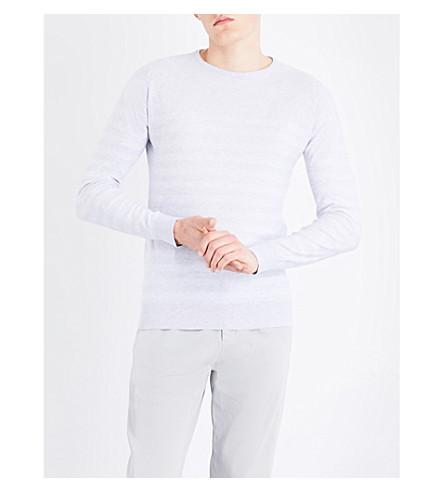 JOHN SMEDLEY Rubra striped cotton jumper (Feather+grey/white
