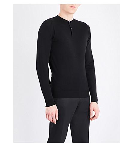 JOHN SMEDLEY Russet button-detail merino wool sweater (Black