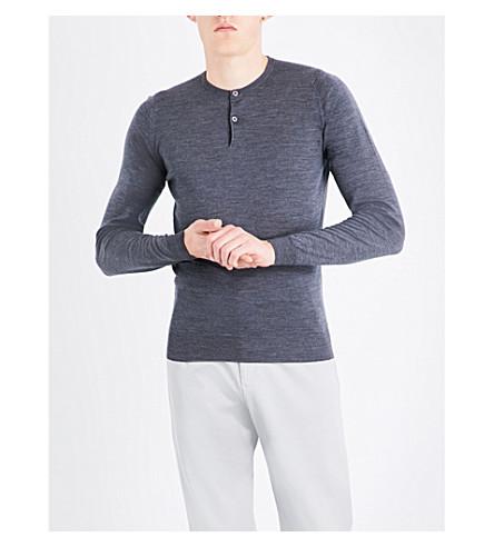 JOHN SMEDLEY Russet button-detail wool jumper (Charcoal