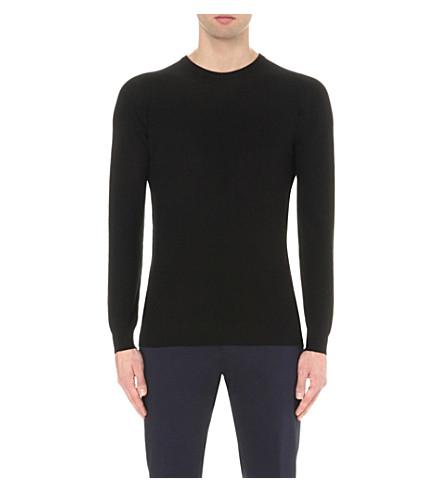 JOHN SMEDLEY Textured knitted jumper (Black